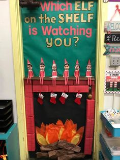 Christmas Door Decorations - Lucky Little Learners - - Elf Selfies to Gingerbread Houses to Grinch Acts of Kindness to Elf on the Shelf (& more).this post will make your Christmas door decorations easy peasy! Christmas Door Decorating Contest, Diy Classroom Decorations, School Door Decorations, Office Christmas Decorations, Christmas Front Doors, Xmax, Diy Weihnachten, Grinch, Christmas Fun