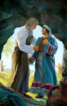 Jacob poniéndole a José la túnica