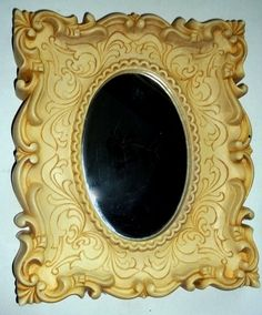 vintage ornate picture frame with  OVAL MIRROR Dart Homco style Shabby cottage