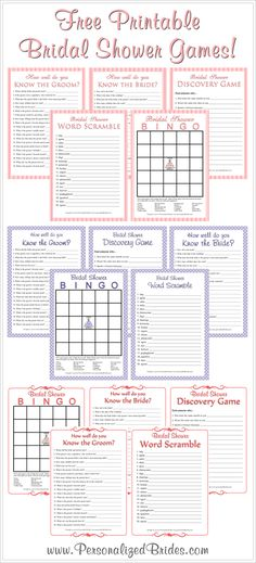Free printable bridal shower games!