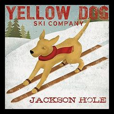 Buy Art For Less 'Yellow Dog Ski Company Jackson Hole' by Ryan Fowler Framed Vintage Advertisement