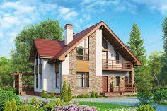 Проект жилой дом #57-00L материал - газобетон, стиль современный House In The Woods, Gazebo, Outdoor Structures, Cabin, House Styles, Projects, Home Decor, Log Projects, Kiosk