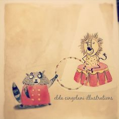 The lion that wouldn't jump // watercolors on paper// kids illustration// circus animals illustration   http://eldacingolani.tumblr.com/