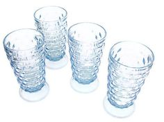 Ice Blue Vintage Drinking Glasses Cubist style Tumblers Indiana Glass American Whitehall. $24.00, via Etsy.