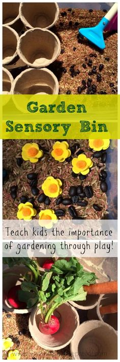This garden sensory bin is perfect for discussing the importance of gardening and fresh fruits and veggies with kids. What a way to celebrate Spring! Sensory Table, Sensory Bins, Sensory Activities, Sensory Play, Teaching Activities, Preschool At Home, Toddler Preschool, Toddler Crafts, Outdoor Activities For Toddlers