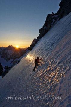 Ascensión de la Pointe Lachenal, Macizo del Mont-Blanc, Alta Saboya, Francia