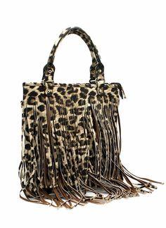Allover leopard fringe bag