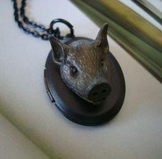 Gothic Locket, What A Boar, Original Unique Necklace Locket, Gift Box Delivered. $21.99, via Etsy.