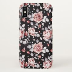 Vintage Pink Floral Pattern iPhone X Case - rose style gifts diy customize special roses flowers