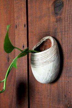 Hand Carved Egg-Shaped Wall Planter // Red and por HalfLightHoney