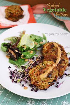 Baked Vegetable Fritters Recipe from Veganlovlie.com
