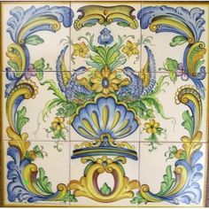 french porcelain wall murals | 18th Century Design with Birds, tile mural