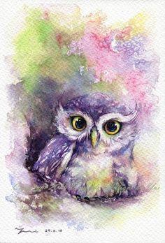 "Drucken Sie – Rainbow Owl Aquarell Malerei 7,5 x 11"""