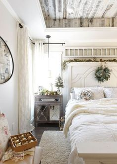 Beautiful whites and neutrals. Look at the ceiling.
