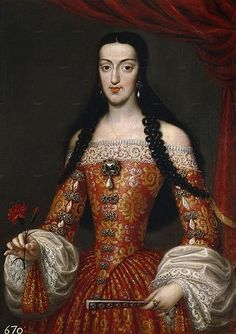 Maria Luisa de Orleans, Queen of Spain wife of D. Carlos II, by Jose Garcia Historical Costume, Historical Clothing, European History, Art History, Jose Garcia, Henrietta Maria, Ludwig Xiv, 17th Century Fashion, Spanish Royalty