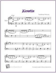 Alouette | Free Sheet Music for Easy Piano - http://makingmusicfun.net/htm/f_printit_free_printable_sheet_music/alouette-piano-sheet-music.htm