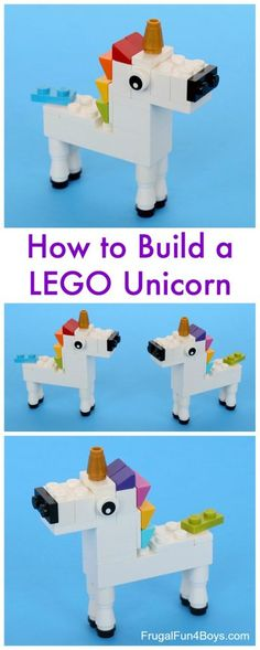 Unicorn Building Instructions - Fun LEGO building project for kids. Would be fun for a birthday party!LEGO Unicorn Building Instructions - Fun LEGO building project for kids. Would be fun for a birthday party! Animal Projects, Projects For Kids, Craft Projects, Project Ideas, Manual Lego, Legos, Fun Crafts, Crafts For Kids, Party Crafts