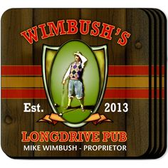 Longest Drive Personalized Golf Coaster Set. Our personalized golf coaster set options leave you with everything you need for the perfect accouterment for your home bar or a great housewarming or bachelor party gift. These sports waterproof coasters include space for two lines and established year carefully weaved into the design of your choice. Printed in full color on a non-skid base, these engraved coaster sets are both useful and clever.