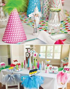 {Polka Dot} Nutcracker Birthday Party: mouse king piñata, candy cake cake pops, nutcracker masks, tree table decorations & sugar cookies.