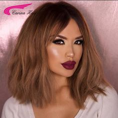 High Quality Peruvian virgin hair Short Front lace wigs Ombre Color Full Lace Human Hair Wigs T2/30# Glueless Wig with Baby Hair
