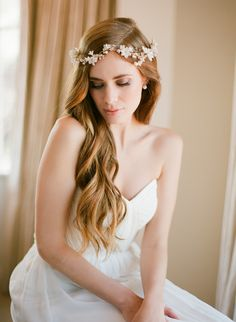 EDEN   Floral and pearl bridal headpiece