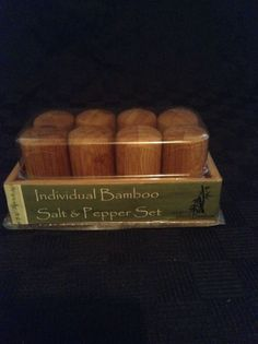 "NIB 4 Sets Of 2"" Individual Bamboo Salt & Pepper Shakers With Tray"