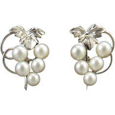Vintage Japan Cultured Pearl and Sterling Silver Earrings