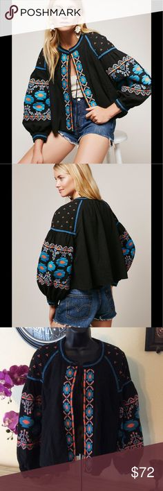 Sale❗️Free People Embroidered Jacket Gorgeous puffy sleeve jacket. Everything is in mint condition...only missing second ties. Ties at top, but strings for middle are gone. Still functions the same, and looks cute on. Great for all seasons! Fits up to size 8/10 Free People Tops