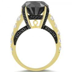 7.86 Carat Certified Natural Black Diamond Engagement Ring 14k Yellow Gold