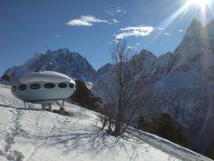 "Caucasus. Karachay-Cherkessia. Dombay. On Mount Musa Achitara Finnish hotel ""UFO"" at an altitude of 2250 meters."