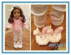 Applique Corner Applique Design, In-The-Hoop Bunny Slippers Set 2 Doll