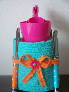 Possible Door Prize For Bridal Shower!    (Brightly Colored Kitchen Towel Cake by DesignsAboutLife on Etsy, $20.00)
