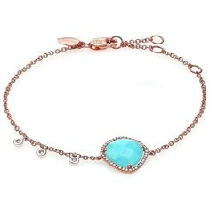 Meira T Blue Amazonite, Diamond & 14K Rose Gold Bracelet ($1,090) ❤ liked on Polyvore featuring jewelry, bracelets, apparel & accessories, rose gold, 14k rose gold jewelry, charm bangle, rose gold bangle, lobster claw clasp charms and blue charm