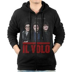GHGH Mens Il Volo O Sole Mio ZipUp Sweatshirt Jackets Black Size XXL *** Learn more by visiting the image link.(This is an Amazon affiliate link and I receive a commission for the sales)