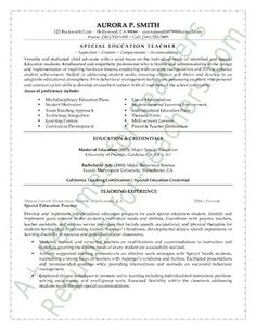 Special Education Teacher Resume Examples  School