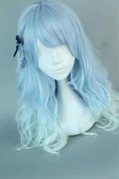 Suuny Queen Fashion Wavy Ombre Light Purple T Silver White Curly Synthetic Wig Short Natural Heat Resistant Wigs For Women Anime Wigs, Anime Hair, Cosplay Hair, Cosplay Wigs, Kawaii Hairstyles, Pretty Hairstyles, Frontal Hairstyles, Wig Hairstyles, Light Blue Hair