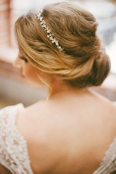 beautiful wedding updo hairstyle with headband
