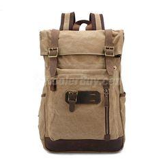 bbd7a24538 Men Women Canvas Leather Backpack Rucksack School Bag Laptop Bag for Sale