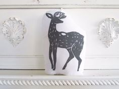 Plush Deer Pillow in Grey. Hand Woodblock Printed. by LauraFrisk, $16.50
