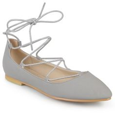 Journee Collection Women's 'Fiona' Lace-up Pointed Toe Ballet Flats   Overstock.com Shopping - The Best Deals on Flats