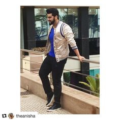 ( ・・・ Today in a Bomber, jeans and shoes for promotions Bollywood Outfits, Swag Boys, Arjun Kapoor, Diesel Jeans, Celebs, Celebrities, My Crush, Prince Charming, Scotch