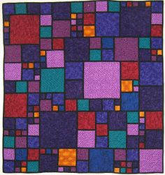 """Start in the middle with a 12"""" block, use 1 1/2"""" pieces for sashing and build upon that first block like you would a log cabin.  Lucy's Quilts: Denim Quilts"""