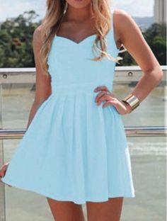 Blue Sweetheart Cut Out Back Mini Skater Dress | USTrendy www.ustrendy.com #ustrendy