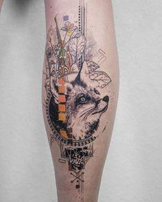 Fox tattoo by koittattoo intricate modern-day tattoo designs Time Tattoos, Sexy Tattoos, Body Art Tattoos, Sleeve Tattoos, Cool Tattoos, Voll Arm-tattoos, Tattoos Mandala, Geometric Tattoos, Fox Tattoo