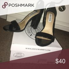"""Steve Madden Shoes! Black Patent Leather """"Carson"""" Wedge Heel By Steve Madden. Size 8! Worn once 😊 Steve Madden Shoes Heels"""