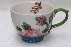 Coastline Imports Dutch Wax Floral Jumbo Coffee Cup Mugs - Green/Pink/Blue - S/2