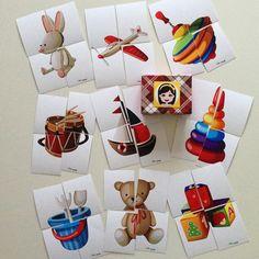 Pia Polya Dört Parçalı Oyuncak Görsellerini Tamamlama Kartları 18 ay ve 36 ay arası çocuklarınız için uygundur.  A3 Montessori, Puzzle, Gift Wrapping, Education, Holiday Decor, Gifts, Vintage, Paper Wrapping, Presents