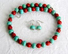 Handmade Jewelry Black Onyx Red Coral Magnesite by mamisgemstudio