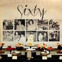 60th Birthday Photo Collage Dessert Table Backdrop 75th Parties Celebration Ideas
