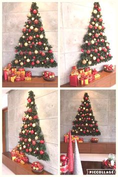 Diy Christmas Wall Decorations Small Spaces 20 Ideas For 2019 Christmas Lights Outdoor Trees, Wall Christmas Tree, Easy Christmas Decorations, Modern Christmas Decor, Unique Christmas Trees, Simple Christmas, Christmas Diy, Holiday Decor, Outdoor Christmas